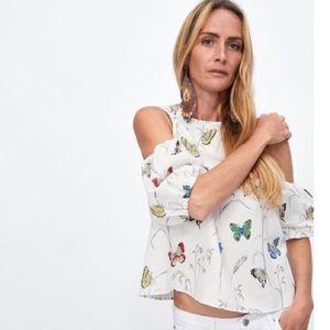 [Zara] Butterfly Linen Blouse - Size Small